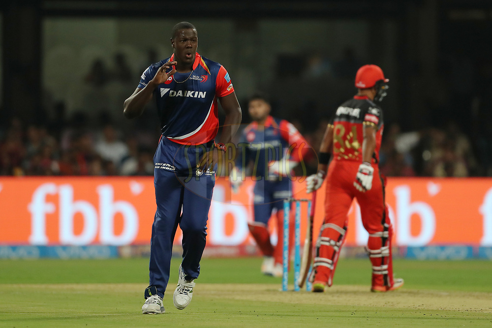 Carlos Brathwaite of the Delhi Daredevils reacts after a delivery during match 5 of the Vivo 2017 Indian Premier League between the Royal Challengers Bangalore and the Delhi Daredevils held at the M.Chinnaswamy Stadium in Bangalore, India on the 8th April 2017<br /> <br /> Photo by Ron Gaunt - IPL - Sportzpics