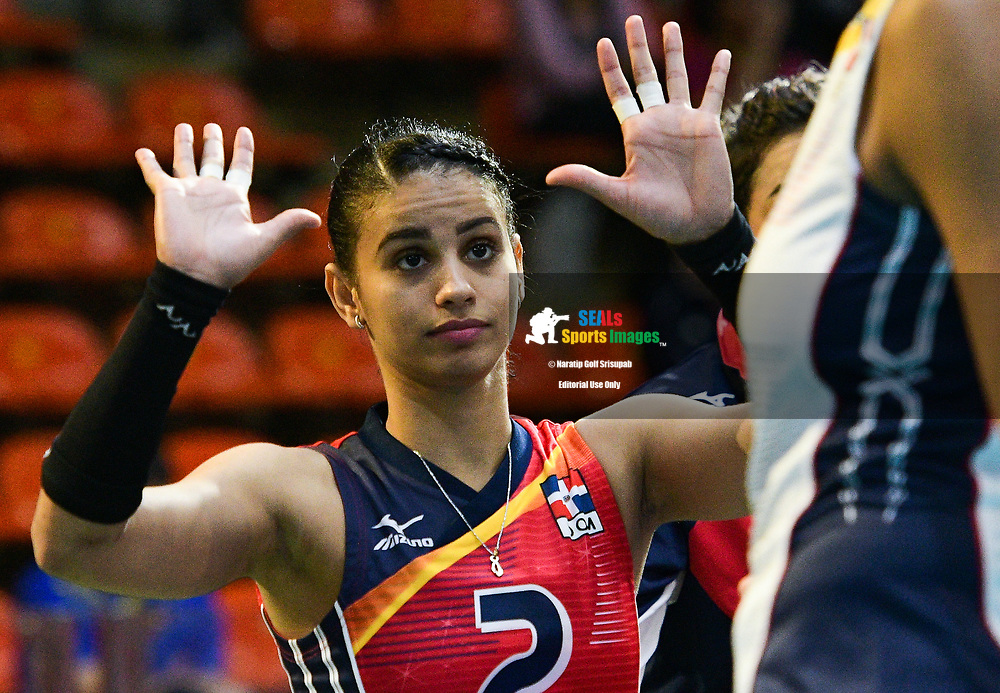 BANGKOK, THAILAND - MAY 31: Winifer Maria Fernandez Perez #2 of Dominican Republic reaction on Day 3 match between Dominican Republic vs Germany at the FIVB Volleyball Nation League 2018, Indoor Stadium Huamark, Bangkok, Thailand on May 31, 2018. <br /> .<br /> .<br /> .<br /> (Photo by: Naratip Golf Srisupab/SEALs Sports Images)<br /> .<br /> Any image use must include a mandatory credit line adjacent to the content which should read: Naratip Golf Srisupab/SEALs Sports Images
