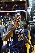 Kent State Golden Flashes guard Jaylin Walker (23) reacts after defeating the Vanderbilt Commodores during the second half of an NCAA basketball game in Nashville, Tenn., Friday, Nov. 23, 2018. Kent State won 77-75. (Jim Brown/Image of Sport)