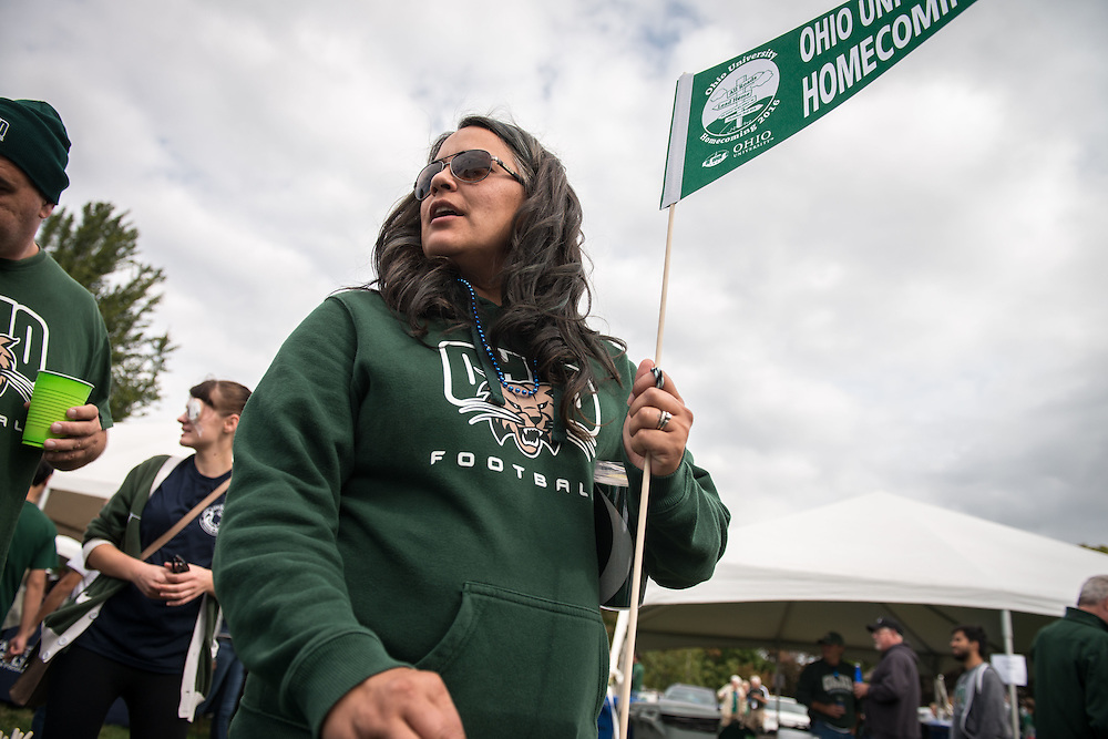 Jolene Irons, mother of Ohio University running back, Maleek Irons (not pictured) attends the 2016 homecoming tailgate party before the Bobcats matchup against Bowling Green on Saturday, October 8, 2016.