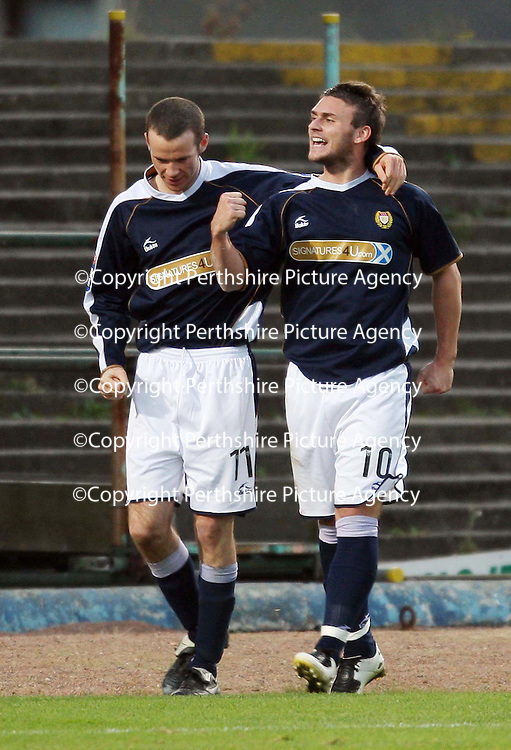 Dundee v St Johnstone....03.11.07<br /> Bob Davidson celebrates his equaliser with Eddie Malone<br /> Picture by Graeme Hart.<br /> Copyright Perthshire Picture Agency<br /> Tel: 01738 623350  Mobile: 07990 594431