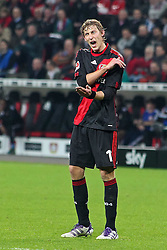 05.11.2011,  BayArena, Leverkusen, GER, 1.FBL, Bayer 04 Leverkusen vs Hamburger SV, im Bild.Stefan Kiessling (Leverkusen #11) entaeuscht / entäuscht / traurig..// during the 1.FBL, Bayer Leverkusen vs Hamburger SV on 2011/11/05, BayArena, Leverkusen, Germany. EXPA Pictures © 2011, PhotoCredit: EXPA/ nph/  Mueller       ****** out of GER / CRO  / BEL ******
