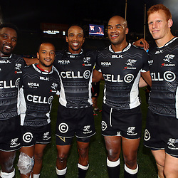 DURBAN, SOUTH AFRICA - JULY 15: Lwazi Mvovo with Rhyno Smith Odwa Ndungane JP Pietersen and Philip van der Walt of the Cell C Sharks during the Super Rugby match between the Cell C Sharks and Sunwolves at Growthpoint Kings Park on July 15, 2016 in Durban, South Africa. (Photo by Steve Haag/Gallo Images)