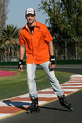 Melbourne. Australia - Sunday, March 18, 2007: Adrian Sutil of Germany and Spyker F1 prepares for the opening Grand Prix of the Formula One World Championship in Australia by skating around the circuit on roller-blades. (Pic by Michael Kunkel/Propaganda/Hoch Zwei)