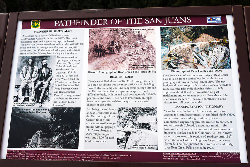 Interpretive sign at Bear Creek Falls, Uncompahgre National Forest, Colorado USA