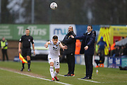 Wolverhampton Wanderers Midfielder Ryan John Giles (23)  takes a throw in front of Shrewsbury Town's Manager Sam Ricketts and Wolverhampton Wanderers manager Nuno Espirito Santoduring the The FA Cup fourth round match between Shrewsbury Town and Wolverhampton Wanderers at Greenhous Meadow, Shrewsbury, England on 26 January 2019.
