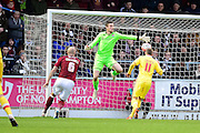 Simon Church opens the scoring for MK Dons during the The FA Cup match between Northampton Town and Milton Keynes Dons at Sixfields Stadium, Northampton, England on 9 January 2016. Photo by Dennis Goodwin.