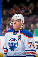 PENTICTON, CANADA - SEPTEMBER 9: Ethan Bear #74 of Edmonton Oilers stands on the ice during first period against the Winnipeg Jets on September 9, 2017 at the South Okanagan Event Centre in Penticton, British Columbia, Canada.  (Photo by Marissa Baecker/Shoot the Breeze)  *** Local Caption ***
