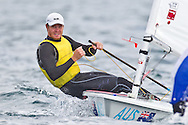 ENGLAND, Weymouth. 9th August 2011. Pre Olympic Test Event. Tom Slingsby, Australia, Laser.