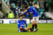 Connor Goldson (#6) of Rangers holds his hamstring following a challenge during the Ladbrokes Scottish Premiership match between Hibernian and Rangers at Easter Road, Edinburgh, Scotland on 19 December 2018.