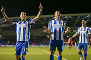 Brighton & Hove Albion winger Anthony Knockaert (11) and Brighton & Hove Albion centre forward Tomer Hemed (10) celebrate his goal 2-0 during the EFL Sky Bet Championship match between Brighton and Hove Albion and Birmingham City at the American Express Community Stadium, Brighton and Hove, England on 4 April 2017. Photo by Phil Duncan.