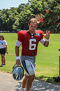 Carolina Panthers quarterback Taylor Heincke (6) waves to fans during training camp at Wofford College, Saturday, July 27, 2019, in Spartanburg, S.C. (Brian Villanueva/Image of Sport)