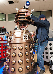 "© Licensed to London News Pictures. 10/03/2019; Chippenham, Wiltshire, UK. Dalek/Doctor Who themed charity event with an attempt on the Guinness World Record for the Largest Gathering of Daleks (currently set at 95 in 2008). The event narrowly missed out on the world record with 87 Daleks in total with 73 of those at full size. ""The Gathering"" was held at The Olympiad Leisure Centre, a Dalek/Doctor Who themed charity event, with all profits in aid of Great Ormond Street Children's Hospital Charity and Julia's House Children's Hospice. There were various Who-related celebrity guests, talks, Q&As, cosplay competitions, and workshops. Photo credit: Simon Chapman/LNP"