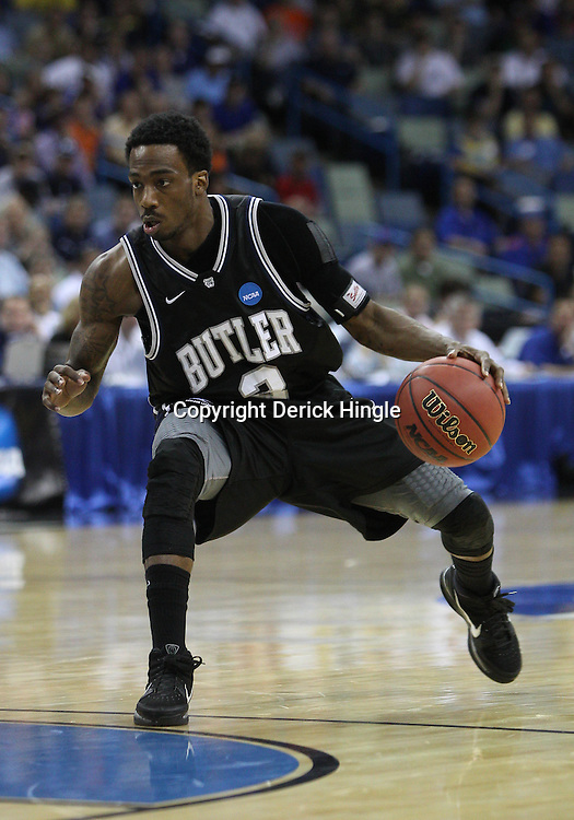 Mar 26, 2011; New Orleans, LA; Butler Bulldogs guard Shawn Vanzant (2) against the Florida Gators during the first half of the semifinals of the southeast regional of the 2011 NCAA men's basketball tournament at New Orleans Arena.   Mandatory Credit: Derick E. Hingle