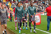 Leeds United forward Helder Costa (17), on loan from Wolverhampton Wanderers, and Leeds United forward Edward Nketiah (14), on loan from Arsenal,  during the EFL Sky Bet Championship match between Barnsley and Leeds United at Oakwell, Barnsley, England on 15 September 2019.