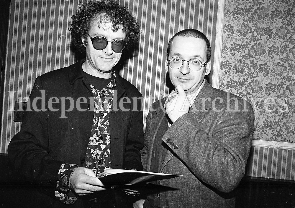Niall Stokes and Roddy Doyle at the Youth for Divorce Press Conferance at Bushwells Hotel, 22/11/1995 (Part of the Independent Newspapers Ireland/NLI Collection).