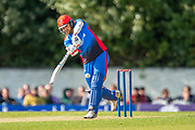 Afghan player Rahmat Shah plays a shot to bring up his 50 runs during the One Day International match between Scotland and Afghanistan at The Grange Cricket Club, Edinburgh, Scotland on 10 May 2019.