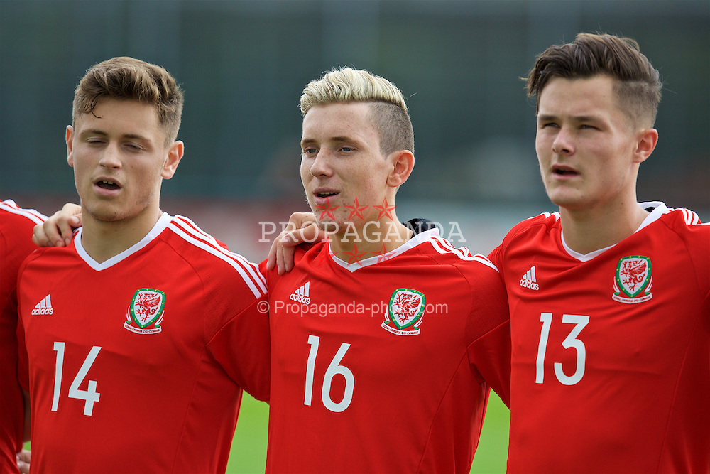 NEWPORT, WALES - Tuesday, September 6, 2016: Wales' Aaron Lewis lines-up before the International Friendly match against Iceland at Dragon Park. (Pic by David Rawcliffe/Propaganda)