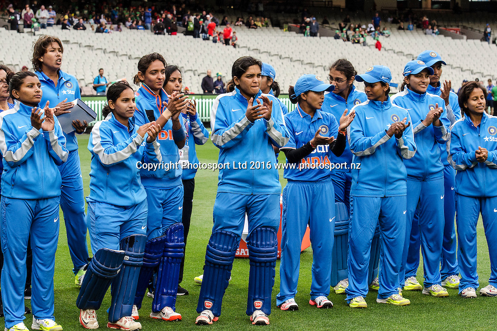 Indian players celebrate their series victory during the Women's Twenty20 match between Australia and India at the MCG in Melbourne, Australia. Friday 29 January 2016. Copyright photo: Raghavan Venugopal / www.photosport.nz