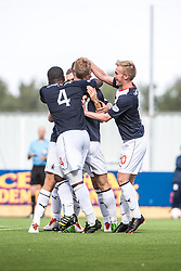 Falkirk's Jay Fulton celebrates with team mates after scoring their first goal.<br /> Falkirk 1 v 2 Hamilton, Scottish Championship 31/8/2013.<br /> &copy;Michael Schofield.
