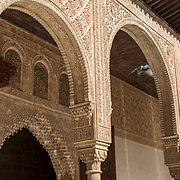 Detail of arches at Nazaries Palace. La Alhambra. Granada, Spain.