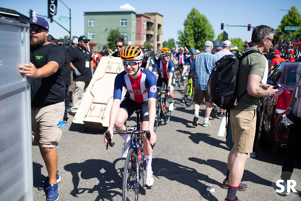 Megan Guarnier (USA) of USA Cycling National Team rides to the start before Stage 1 of the Amgen Tour of California - a 124 km road race, starting and finishing in Elk Grove on May 17, 2018, in California, United States. (Photo by Balint Hamvas/Velofocus.com)