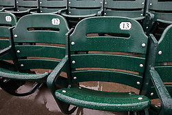 SAN FRANCISCO, CA - APRIL 09:  General view of empty seats covered with rain before the game between the San Francisco Giants and the Los Angeles Dodgers at AT&T Park on April 9, 2016 in San Francisco, California. The Los Angeles Dodgers defeated the San Francisco Giants 3-2 in 10 innings. (Photo by Jason O. Watson/Getty Images) *** Local Caption ***