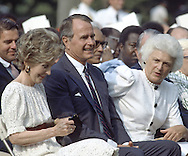 First Lady Nancy ReaganVP and Barbara Bush at the Boston Pops 100th Birthday Celebration on the South Lawn of the White House in May 1985.  This was at a time when President Reagan at recovering at Bethesda Naval Hospital ..Photo by Dennis Brack BSB 18
