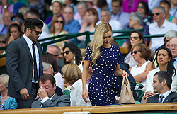 LONDON, ENGLAND - Tuesday, July 1, 2014: Katherine Jenkins and fiancé Andrew Levitas in the Royal Box during the Ladies' Singles 4th Round match on day eight of the Wimbledon Lawn Tennis Championships at the All England Lawn Tennis and Croquet Club. (Pic by David Rawcliffe/Propaganda)