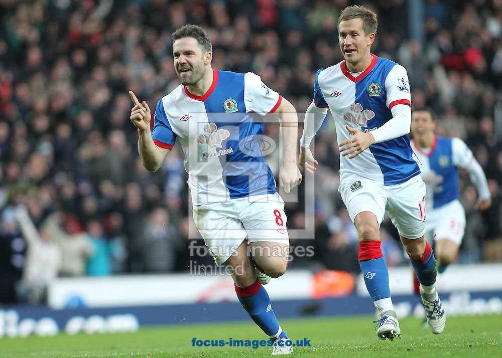 Picture by MIchael Sedgwick/Focus Images Ltd. 07900 363072.14/01/12.David Dunn of Blackburn celebrates scoring the second goal against Fulham during the Barclays Premier League match at the Ewood Park stadium, Blackburn, Lancashire.