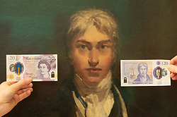 © Licensed to London News Pictures. The new Bank of England Banknote is  held front of a JMW Turner's self-portrait painting,Photo credit: Ray Tang/LNP