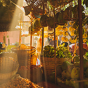 Morning sunbeams through the market stalls in Nyaung-U, Bagan