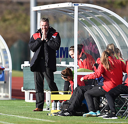 Willie Kirk manager of Bristol City Women on the side line at Stoke Gifford Stadium - Mandatory by-line: Paul Knight/JMP - Mobile: 07966 386802 - 14/02/2016 -  FOOTBALL - Stoke Gifford Stadium - Bristol, England -  Bristol Academy Women v QPR Ladies - FA Cup third round