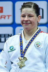 Warsaw, Poland - 2017 April 21: Tina Trstenjak from Slovenia poses with gold medal while awarding ceremony  in the women&iacute;s 63kg final during European Judo Championships 2017 at Torwar Hall on April 21, 2017 in Warsaw, Poland.<br /> <br /> Mandatory credit:<br /> Photo by &copy; Adam Nurkiewicz / Mediasport / Sportida<br /> <br /> Adam Nurkiewicz declares that he has no rights to the image of people at the photographs of his authorship.<br /> <br /> Picture also available in RAW (NEF) or TIFF format on special request.<br /> <br /> Any editorial, commercial or promotional use requires written permission from the author of image.