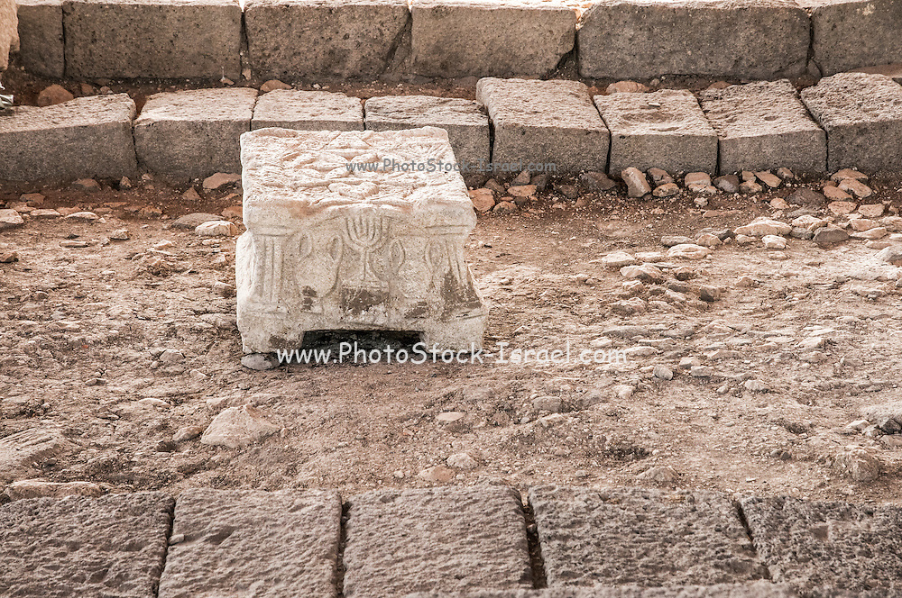 The Magdala Stone from the ancient synagogue of Magdala (Mejdel) - current day Migdal. On the Sea of Galilee