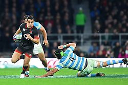 November 11, 2017 - London, United Kingdom - England's Alex Lozowski evades a tackle from Argentina's Matias Alemanno during Old Mutual Wealth Series between England against Argentina at Twickenham stadium , London on 11 Nov 2017  (Credit Image: © Kieran Galvin/NurPhoto via ZUMA Press)