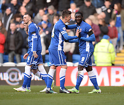 Cardiff City's Kenwyne Jones celebrates with Cardiff City's  - Photo mandatory by-line: Alex James/JMP - Mobile: 07966 386802 - 24/01/2015 - SPORT - Football - Cardiff - Cardiff City Stadium - Cardiff City v Reading - FA Cup Fourth Round
