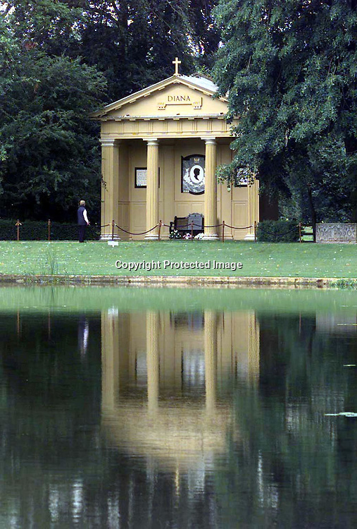 The Doric Temple dedicated to the memory of Diana, Princess of Wales, is situated at one end of the Oval at Althorpe.<br />Photo:  Anwar Hussein