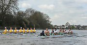 Putney, GREAT BRITAIN,  Tuesday Morning,  Cambridge Training Outing, Blue Boat right and Cambridge reserve crew Goldie,  Tideway week. Championship course. Putney/Mortlake, Tuesday   03/04/2012 [Mandatory Credit, Peter Spurrier/Intersport-images]..CUBC. Bow. David Nelson, 2. Moritz Schramm, 3. Jack Lindeman, 4. Alex Ross , 5.Michael Thorp, 6. Steve Dudek, 7  Alexander Scharp, Stk Niles Garratt . Cox. Ed Bosson .
