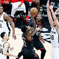01 May 2017: Houston Rockets guard Patrick Beverley (2) goes for the floater shot over San Antonio Spurs center Pau Gasol (16) during the Houston Rockets 126-99 victory over the San Antonio Spurs, in game 1 of the Western Conference Semi Finals, at the AT&T Center, San Antonio, Texas, USA.