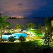 Night shot of the pool at a luxurious Caribbean resort