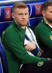 Republic of Ireland's James McClean with his arm in a sling during the League B, Group four match at Cardiff City Stadium.