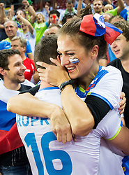 Gregor Ropret #16 of Slovenia and his girlfriend celebrate after winning during volleyball match between National teams of Slovenia and Italy in 1st Semifinal of 2015 CEV Volleyball European Championship - Men, on October 17, 2015 in Arena Armeec, Sofia, Bulgaria. Photo by Vid Ponikvar / Sportida