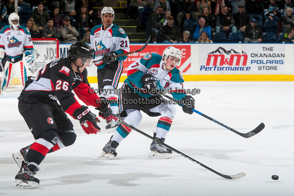 KELOWNA, CANADA - MARCH 1: Lucas Johansen #7 of the Kelowna Rockets clears the puck from the zone against the Prince George Cougars on MARCH 1, 2017 at Prospera Place in Kelowna, British Columbia, Canada.  (Photo by Marissa Baecker/Shoot the Breeze)  *** Local Caption ***