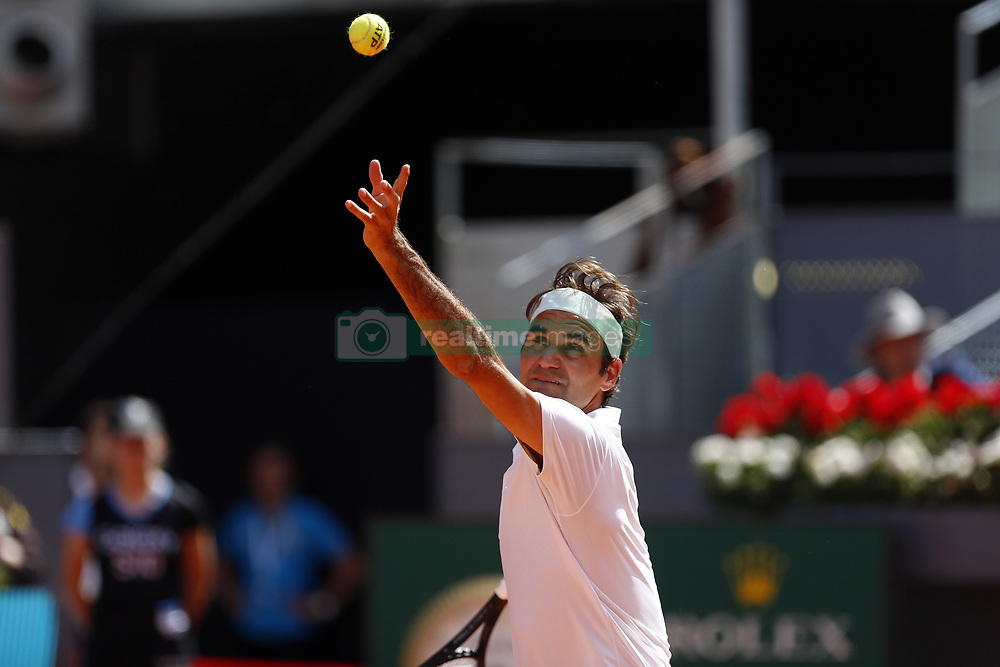 May 9, 2019 - Madrid, Madrid, Spain - Roger Federer of Switzerland seen in action against Gael Monfils of France during day seven of the Mutua Madrid Open at La Caja Magica in Madrid, Spain. (Credit Image: © Manu Reino/SOPA Images via ZUMA Wire)