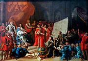 Charles II At Christ's Hospital circa 1680. Oil on canvas. This preparatory sketch for a larger painting shows Charles 11 with governors, masters and boys of Christ's, a London Charity Hospital.  Antonio Vettio (1637- 1707) the Italian artist came to London in 1671.