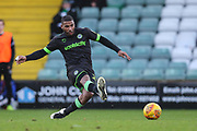 Forest Green Rovers Reuben Reid(26) passes the ball forward during the EFL Sky Bet League 2 match between Yeovil Town and Forest Green Rovers at Huish Park, Yeovil, England on 8 December 2018.