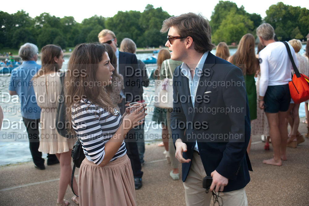 OLIVIA WAKEFIELD; JAMES RAE, Chucs Dive & Mountain Shop charity Swim Party: Lido at The Serpentine. London. 4 July 2011. <br /> <br />  , -DO NOT ARCHIVE-© Copyright Photograph by Dafydd Jones. 248 Clapham Rd. London SW9 0PZ. Tel 0207 820 0771. www.dafjones.com.