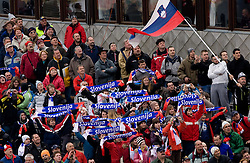 Fans of Slovenia during Flying Hill Individual Qualifications at 1st day of FIS Ski Flying World Championsghips Planica 2010, on March 18, 2010, Planica, Slovenia.  (Photo by Vid Ponikvar / Sportida)