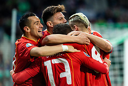 Players of Macedonia celebrate after scoring first goal during football match between National teams of Slovenia and North Macedonia in Group G of UEFA Euro 2020 qualifications, on March 24, 2019 in SRC Stozice, Ljubljana, Slovenia. Photo by Vid Ponikvar / Sportida
